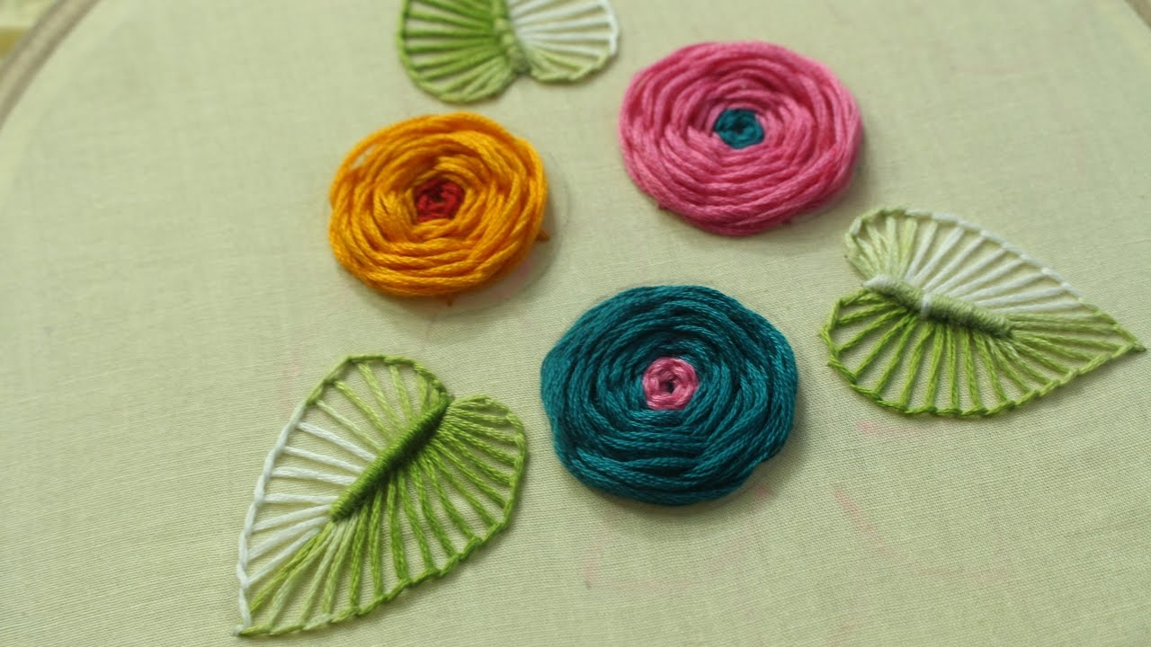 Hand embroidery designs rose flower design stitch and