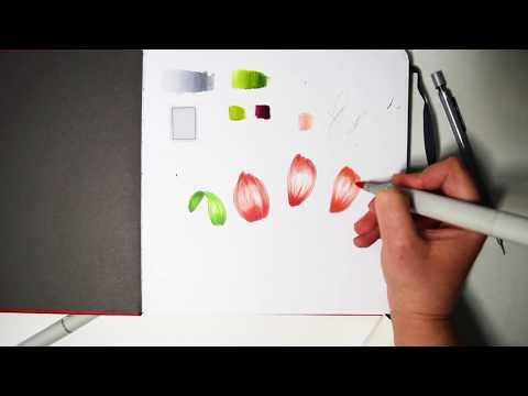 Как рисовать лепестки цветов маркерами