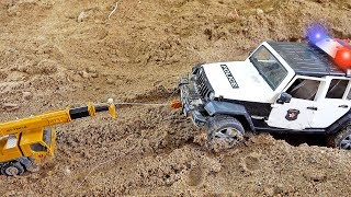 경찰차 구출놀이 크레인 도와주기 중장비 장난감 트럭놀이 Police Car Toy Rescue
