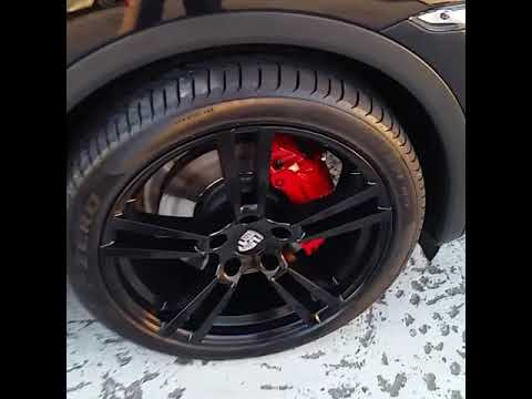 Porsche Cayenne Painted Rims Satin Black Brake Calipers Red