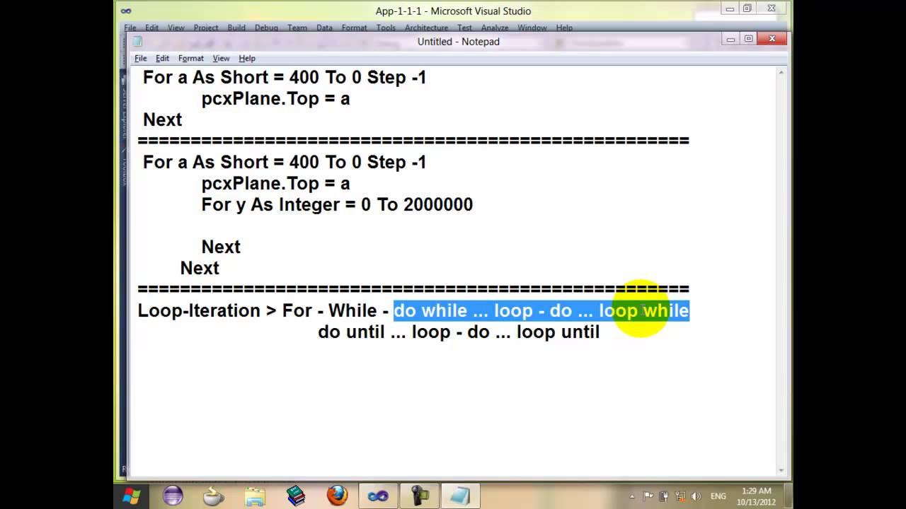 2 vb net programming language for beginner looping