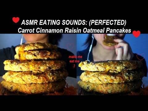 asmr-eating-sounds-:-perfected-carrot-cinnamon-oatmeal-raisin-pancakes-(gluten-free)