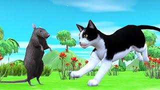 बिल्ली और चूहा Rat and Cat Hindi Kahaniya - Panchatantra Moral Stories - 3D Hindi Fairy Tales