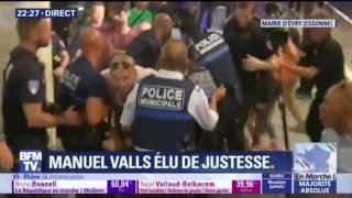 Manuel Valls l emporte,  une bagarre éclate à la mairie d Evry 18/06