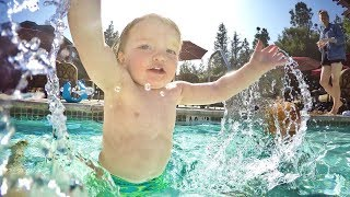 NiKO WATER SLIDE! Family Vacation Pool Day Swimming with Kids and... Time Travel??