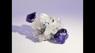 Purple Fluorite on Quartz from Shizhuyuan Mine, China