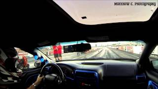 4th Gen Camaro Drag Race, T-Top flys off with GoPro attached! (HD)