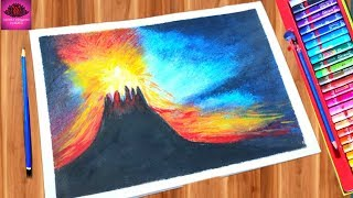 How to draw volcano drawing with oil pastel step by step ( very easy)