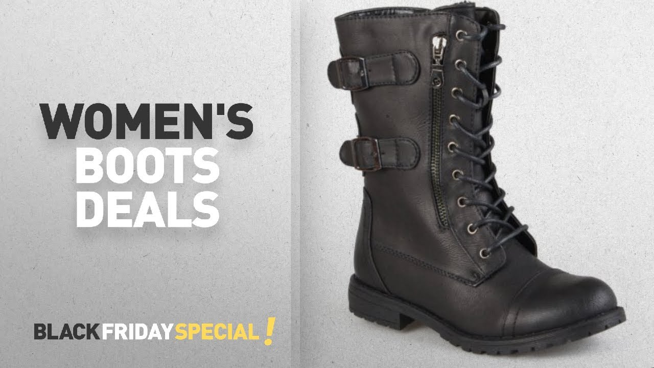 4e9eff68188 Walmart Top Black Friday Women's Boots: Brinley Co Womens Buckle Detail  Lace-up Boots