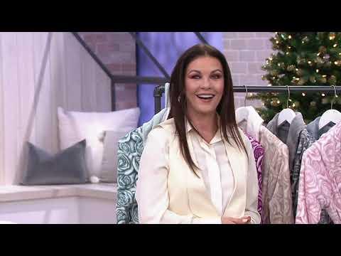 Casa ZetaJones Reversible Velvet Soft Signature Rose Robe on QVC