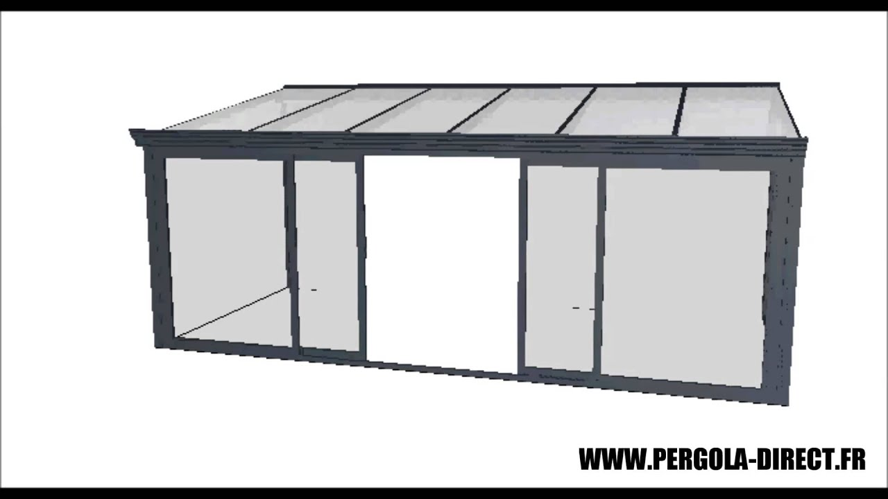 Veranda kit aluminium www pergola direct fr youtube for Pergola aluminium castorama
