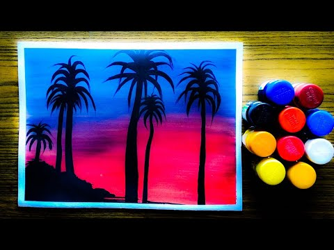 Easy landscape poster colour drawing&painting tutorial for beginners step by step.