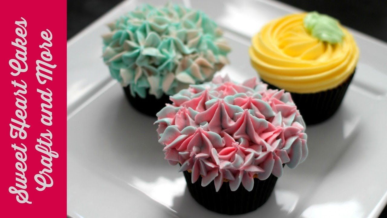 Easy Butter Cream Flower Style Decorated Cupcakes Youtube