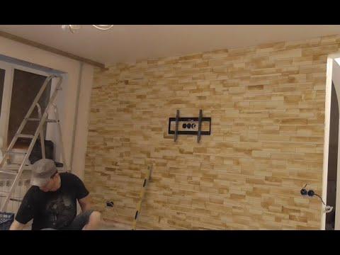 Укладка гипсовой декоративной плитки.Полное ускоренное видео.