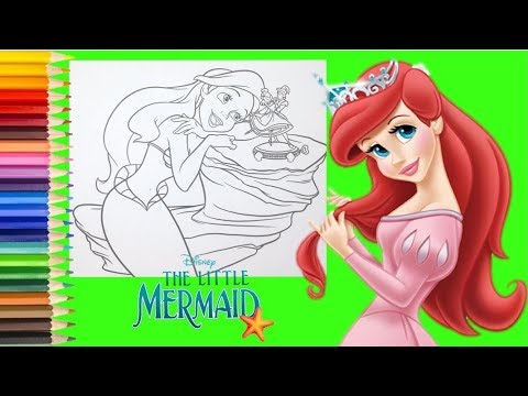 Coloring Disney Princess Ariel The Little Mermaid - Coloring Pages For Kids  - YouTube