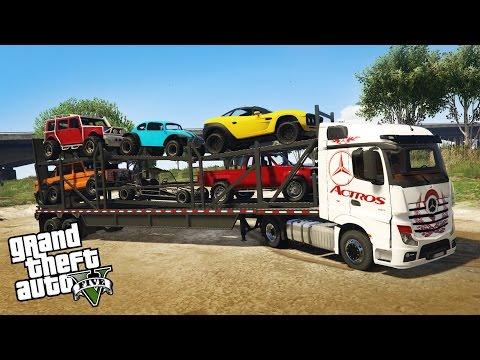 LOADING AND HAULING 4x4 OFF-ROAD VEHICLES! Semi Truck Off-Road Hauling & Mudding (GTA 5 PC Mods)