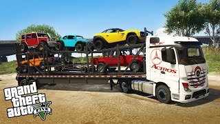 LOADING AND HAULING 4x4 OFF-ROAD VEHICLES! Semi Truck Off-Road Hauling & Mudding (GTA 5 PC Mods)
