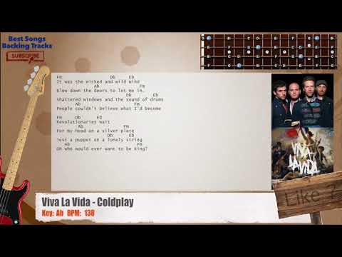 Viva La Vida Coldplay Bass Backing Track With Chords And Lyrics