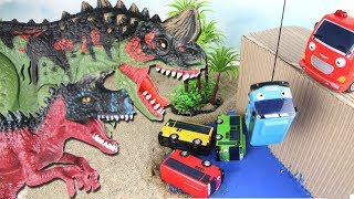 Dinosaurs T-Rex Mountain Fun Adventure. Tayo The Little Bus In Danger~ Dino Rescue Playset Toys. 공룡