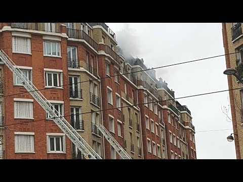 Pompiers de Paris incendie appart Porte d'Orléans 2019 Paris Fire Dept on scene Apartment Fire