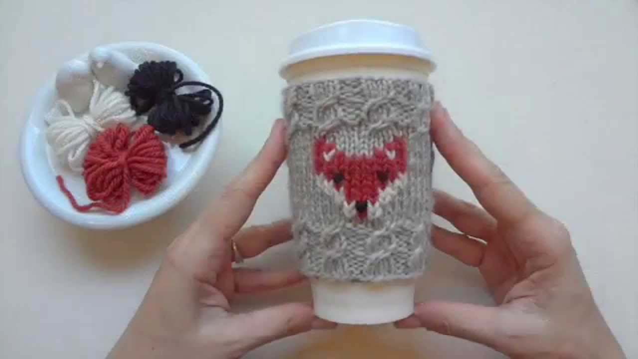 FOX cup cozy Duplicate stitch tutorial - YouTube
