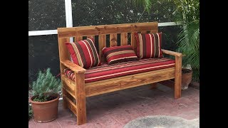 Using old deck wood we build a diy 60 inch outdoor wood bench, garden bench , from plans found here,...