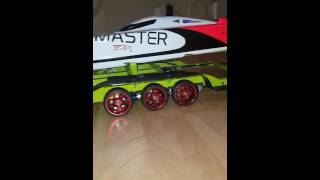Rc trailer boat  miss geico black jack flowmaster catamaran