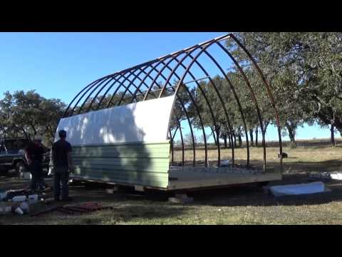 Build process of a 14' x 20' Arched Cabin on a  skid