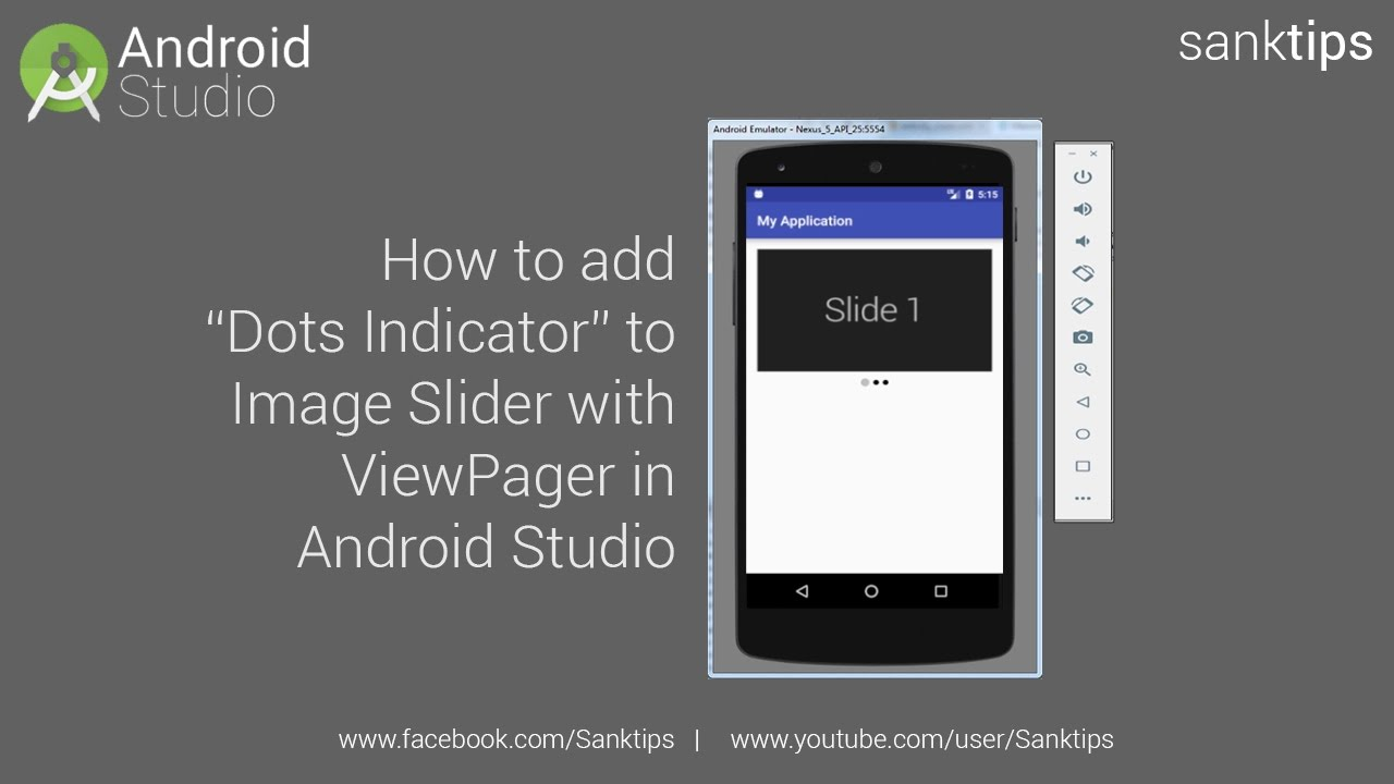 How to add Dots Indicator to Image Slider with ViewPager in Android Studio  | Sanktips