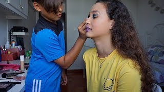 Little Brother Does My Makeup Challenge! // Feat. Iryan