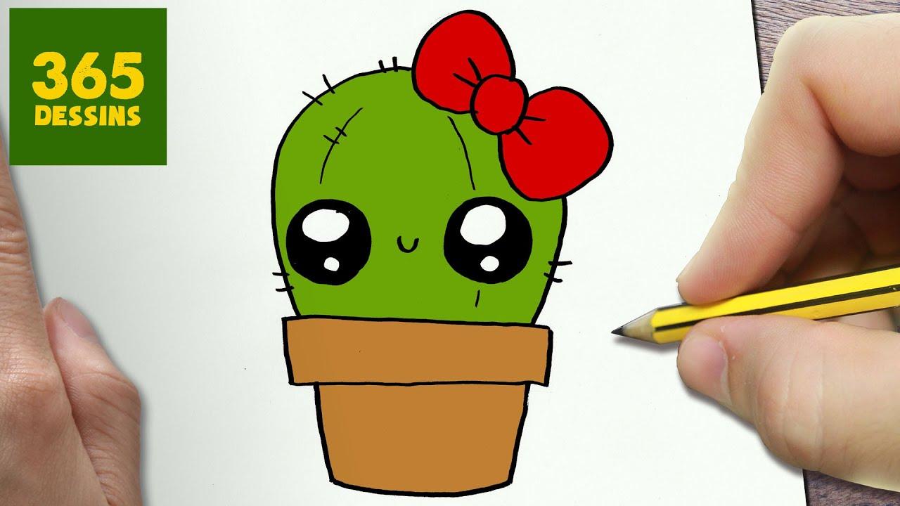 Comment Dessiner Cactus Kawaii Etape Par Etape Dessins Kawaii Facile Youtube