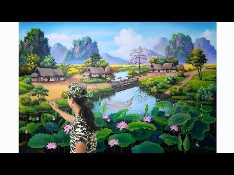 Tranh phong cảnh đồng quê, đẹp thắm tình dân tộc. bạn nào có nhu cầu học vẽ tranh LH: 09690333288
