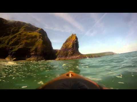 Kayak fun Cornwall. Portreath to Godrevey lighthouse. Beaches, Caves, Ralph's cupboard