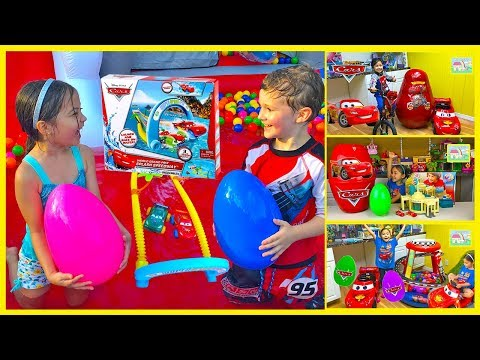 GIANT SURPRISE EGGS Opening Disney Cars Lightning McQueen Kinder Egg Surprises ToysReview