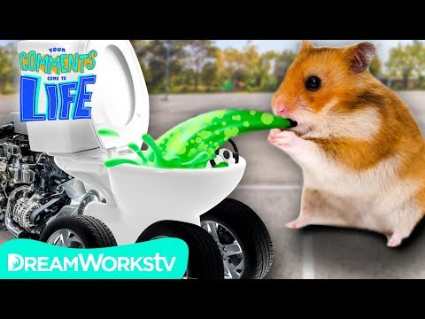 Hamster PUKES in his Toilet Car! | YOUR COMMENTS COME TO LIFE