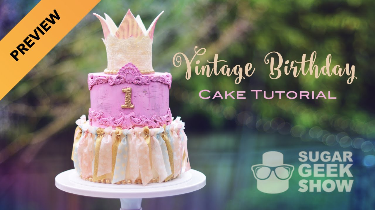 Vintage Birthday Cake Tutorial Preview Premium Level