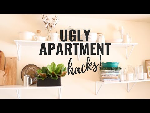 UGLY APARTMENT HACKS | TIPS TO MAKE A DATED APARTMENT PRETTY | EM AT HOME