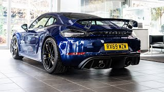 Stunning Gentian Blue Porsche 718 Cayman GT4 collection and REVVING!!