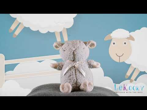 Lekooky Baby Sleep Sheep Plush - Travel Size - Baby Sleep Aid - Trendy Gray