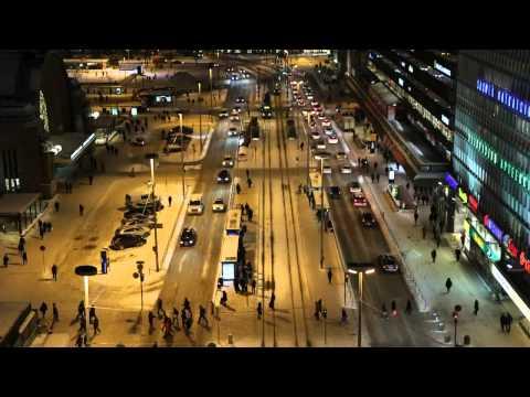 Helsinki Railway Station Tram Stop Timelapse