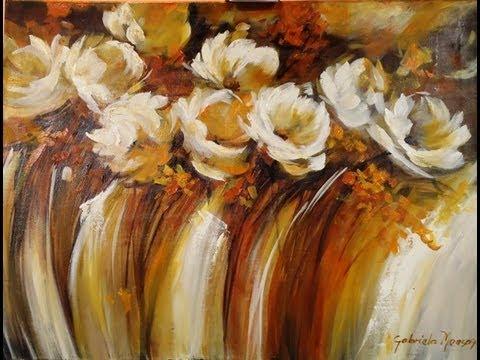 Como Pintar Con Acrílico Y Espátula Cuadro Flores Abstractas Youtube