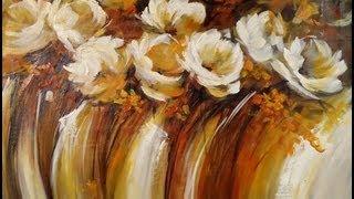 Repeat youtube video Como pintar con acrílico y espátula - Cuadro flores abstractas
