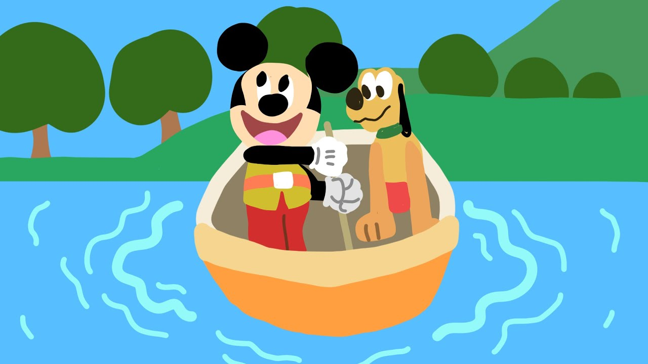 Mickey Mouse and Pluto Floating Along Drawing - Disney Doodles