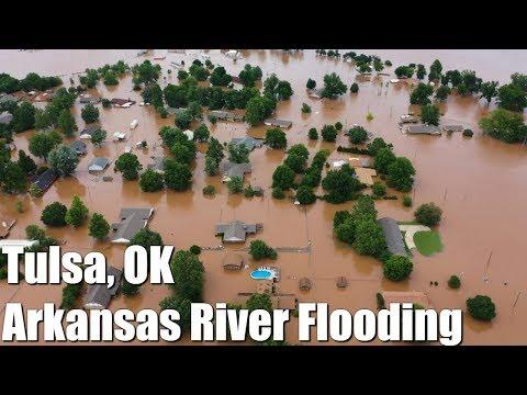 Tulsa Oklahoma - Arkansas River Flooding - Keystone Dam Releasing 275K CFS of Water