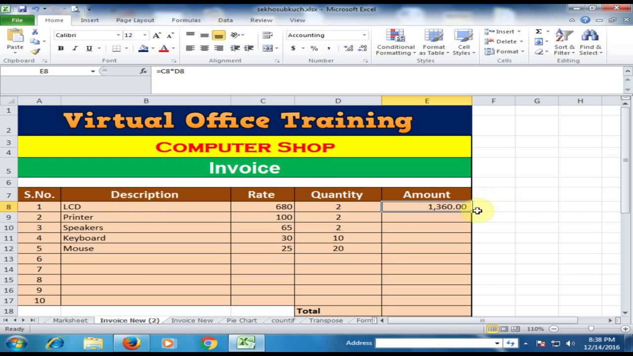 Create Invoice And Calculate Total Amount Discount General Sales - Create invoices from excel spreadsheet official ugg outlet online store