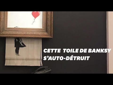 Ce tableau de Banksy s'auto-détruit en pleine vente aux enchères