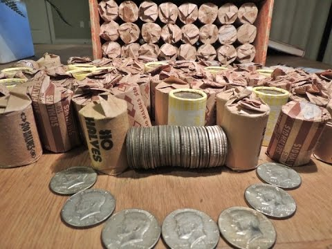 SILVER COIN CACHE!!  COIN ROLL HUNTING JACKPOT!!