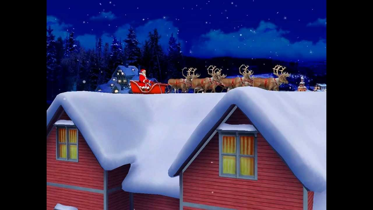 Christmas Snow Falling Wallpaper The Santa Claus 3d Screensaver Youtube