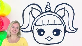Doll Unicorn Makeup coloring and drawing Painting for kids