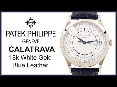 ▶ Patek Philippe Calatrava Silver Index, REVIEW White Gold, Leather, Date - 5296G-001